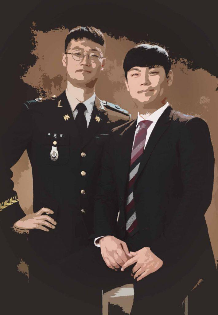 단순화 후처리 이미지 - 군인가족사진